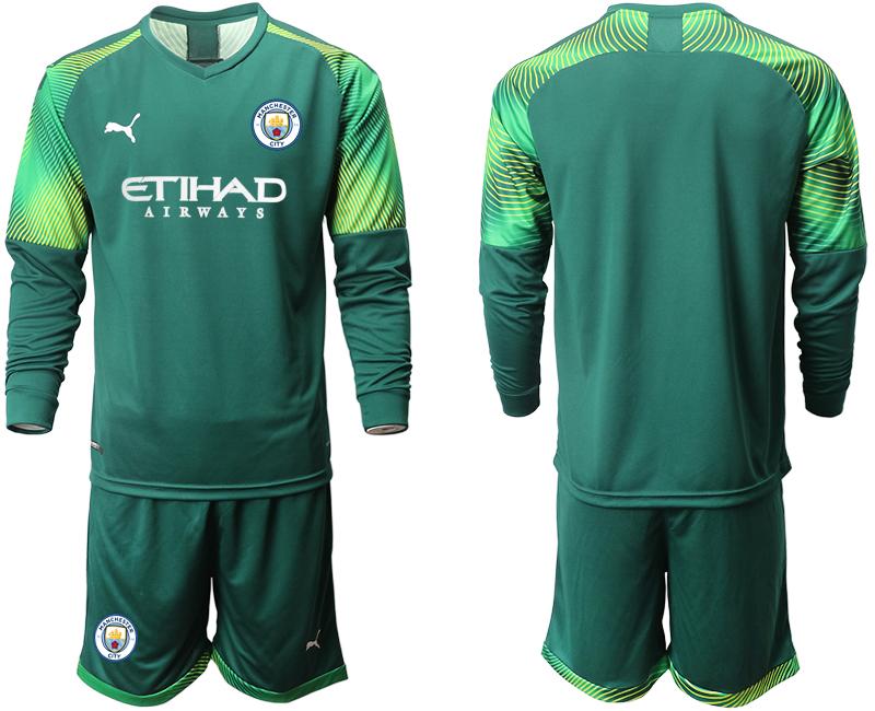 2019-20 Manchester City Dark Green Goalkeeper Long Sleeve Soccer Jersey