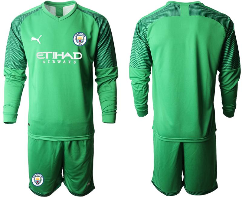 2019-20 Manchester City Green Goalkeeper Long Sleeve Soccer Jersey