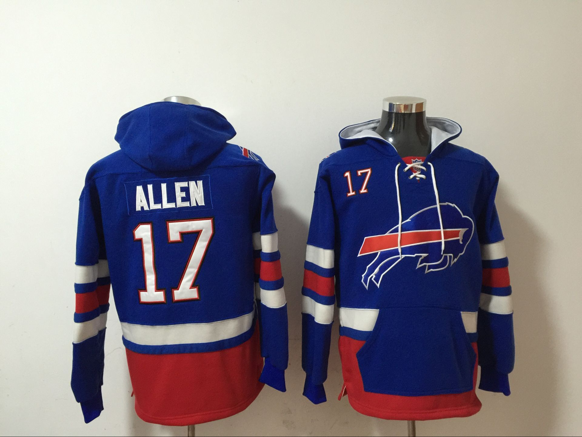 Nike Bills 17 Josh Allen Royal All Stitched Hooded Sweatshirt