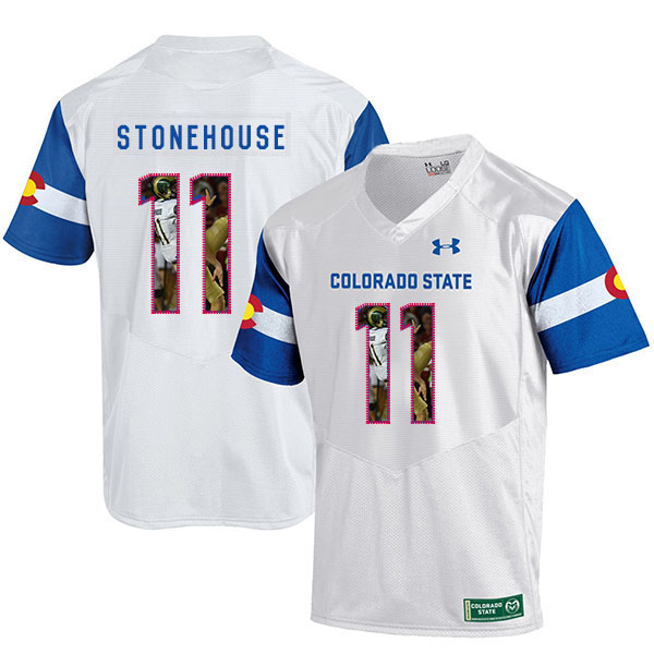 Colorado State Rams 11 Ryan Stonehouse White Fashion College Football Jersey
