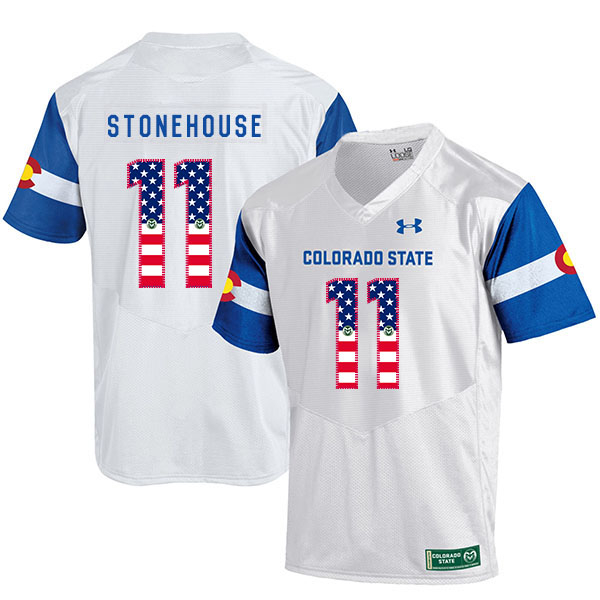 Colorado State Rams 11 Ryan Stonehouse White USA Flag College Football Jersey