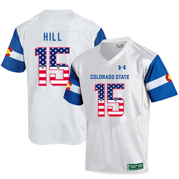 Colorado State Rams 15 Collin Hill White USA Flag College Football Jersey