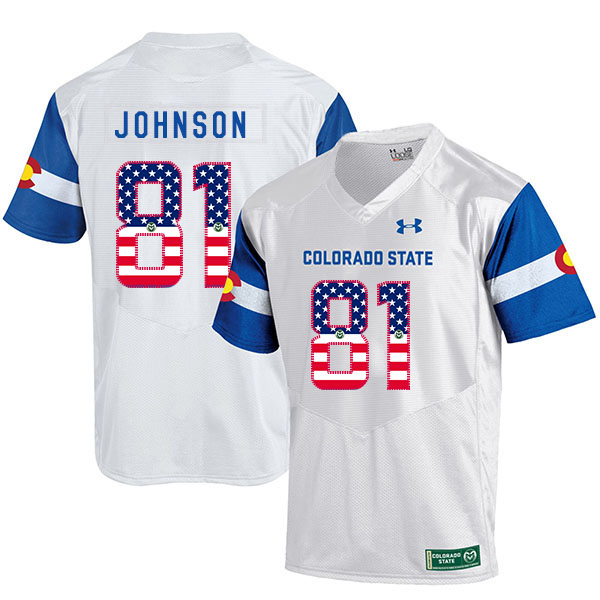 Colorado State Rams 81 Olabisi Johnson White USA Flag College Football Jersey