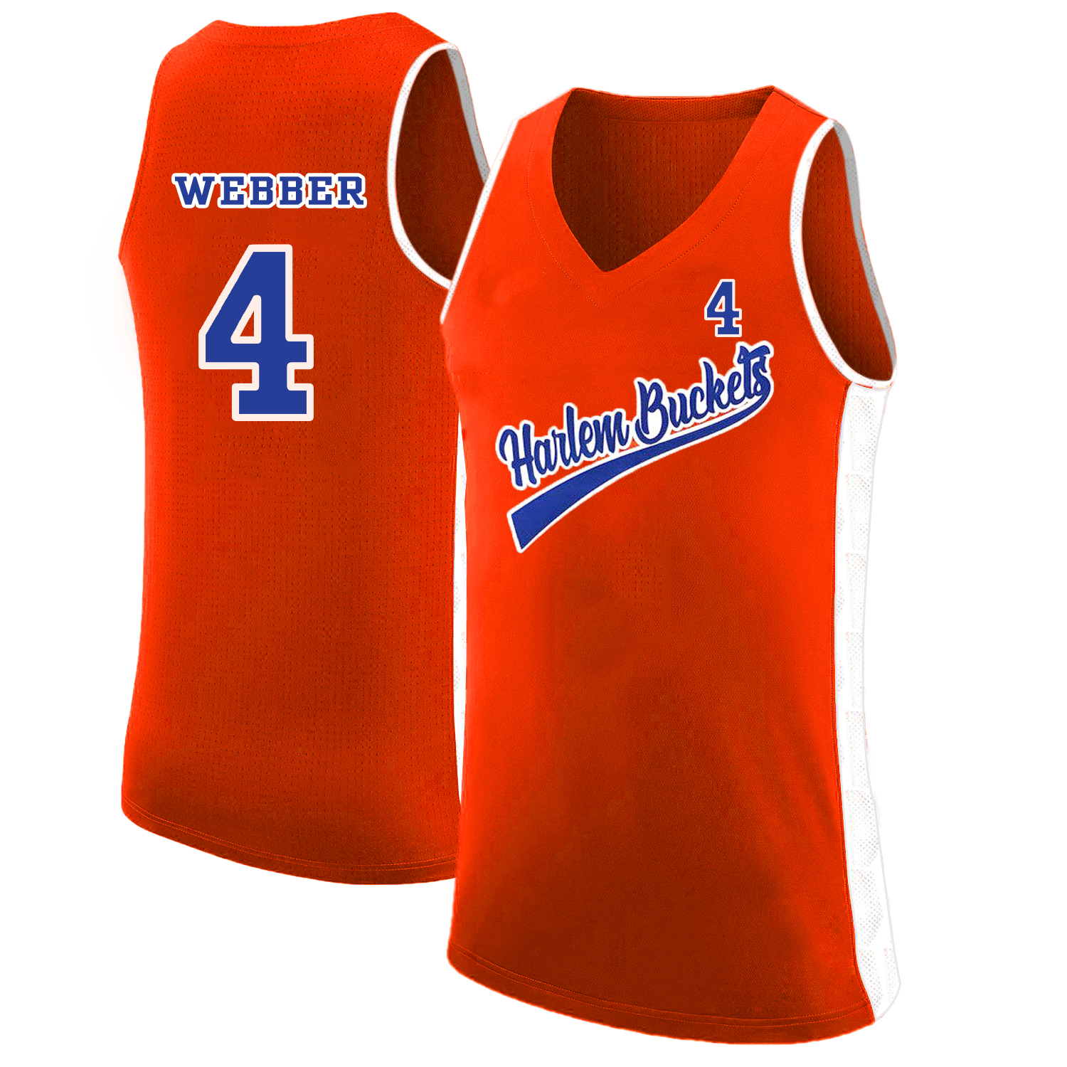 Harlem Buckets 4 Chris Webber Orange Uncle Drew Basketball Jersey