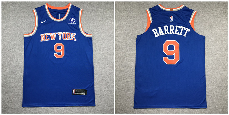 Knicks 9 R.J. Barrett Blue Nike Authentic Jersey