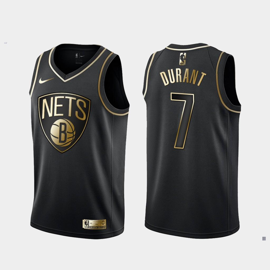 Nets 7 Kevin Durant Black Gold Nike Swingman Jersey
