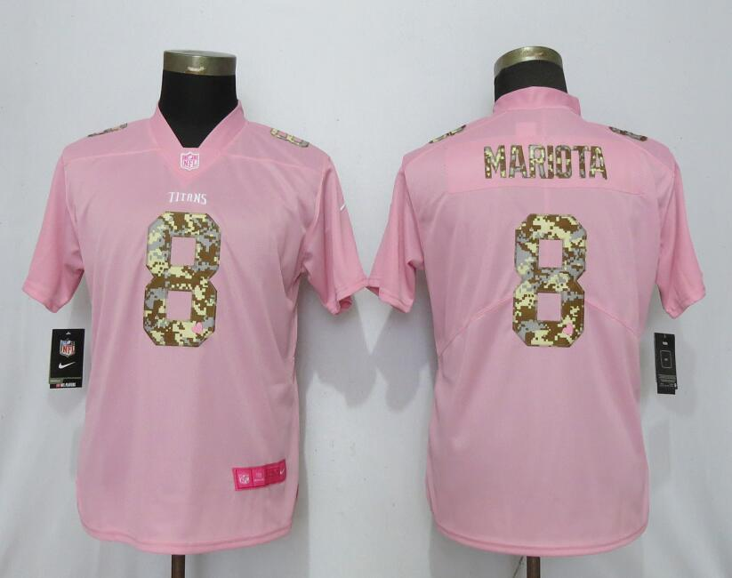 Nike Titans 8 Marcus Mariota Pink Camo Fashion Women Limited Jersey