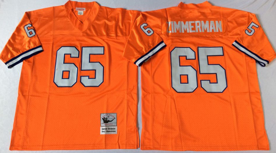 Broncos 65 Gary Zimmerman Orange M&N Throwback Jersey