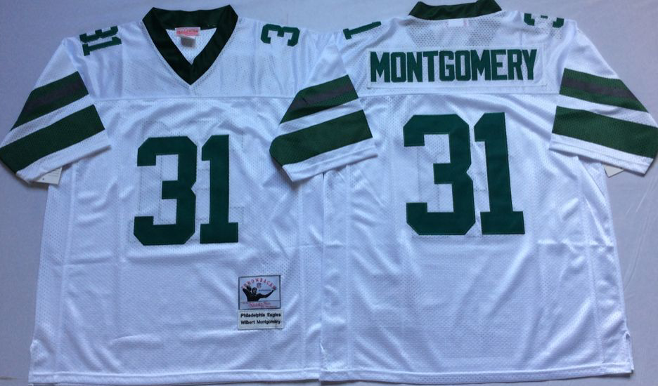Eagles 31 Wilbert Montgomery White M&N Throwback Jersey