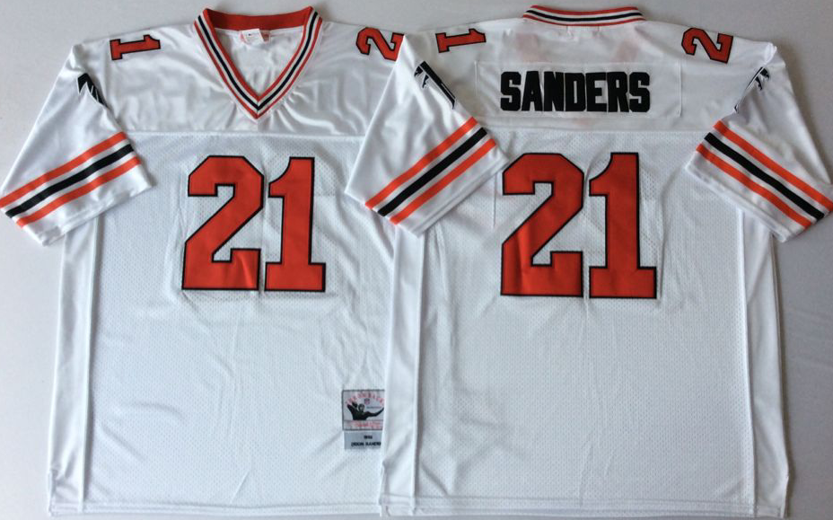 Falcons 21 Deion Sanders White 1989 M&N Throwback Jersey