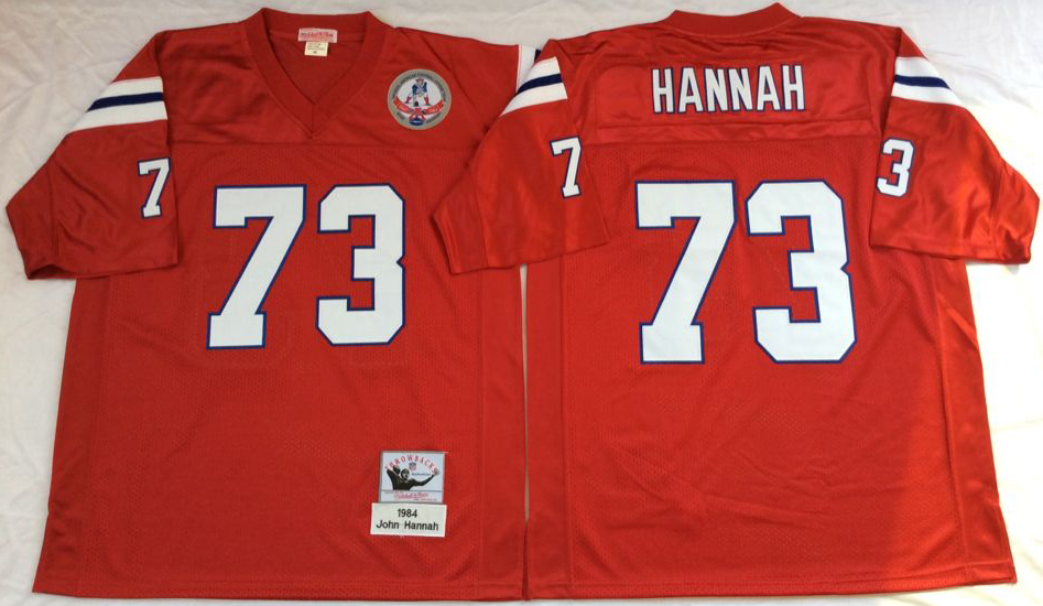 Patriots 73 John Hannah Red M&N Throwback Jersey