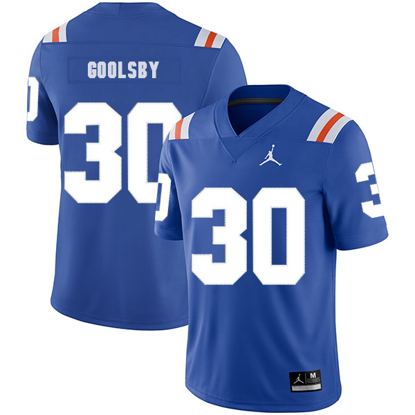 Florida Gators 30 DeAndre Goolsby Blue Throwback College Football Jersey