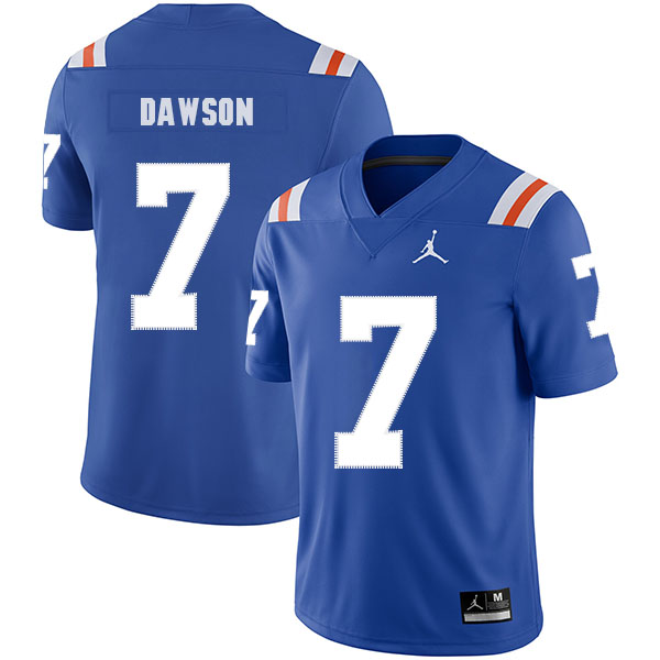 Florida Gators 7 Duke Dawson Blue Throwback College Football Jersey