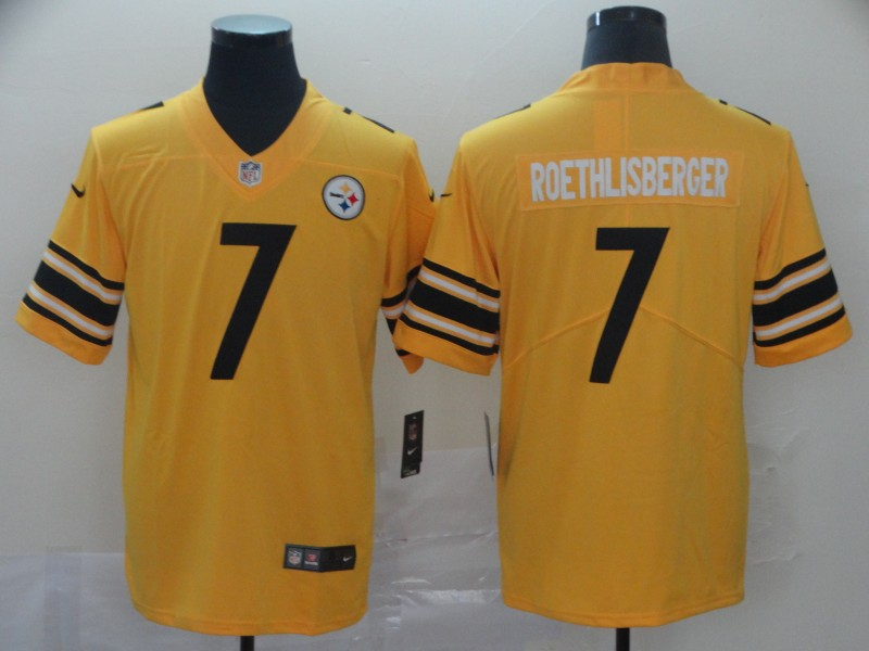 Nike Steelers 7 Ben Roethlisberger Gold Inverted Legend Limited Jersey