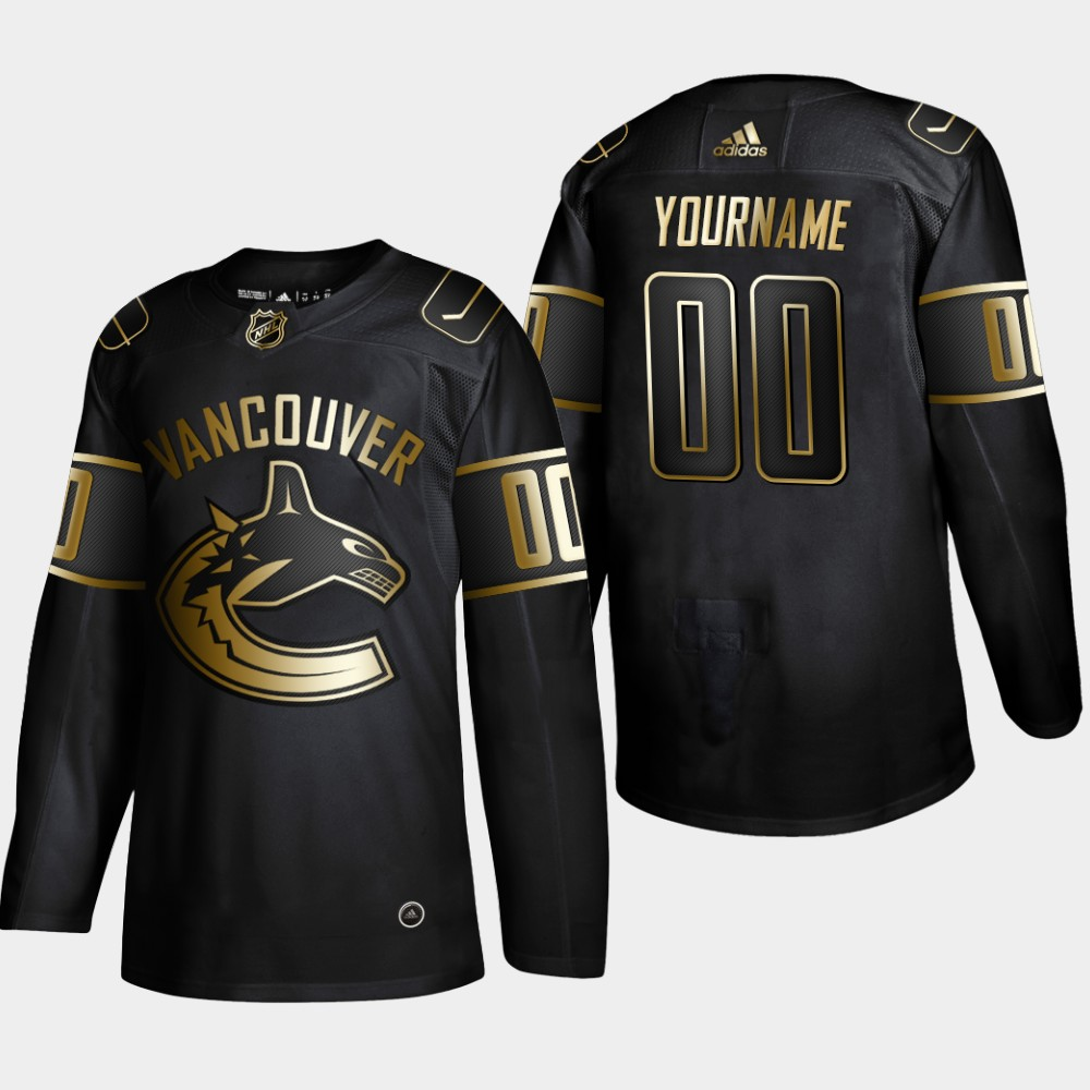 Canucks Customized Black Gold Adidas Jersey