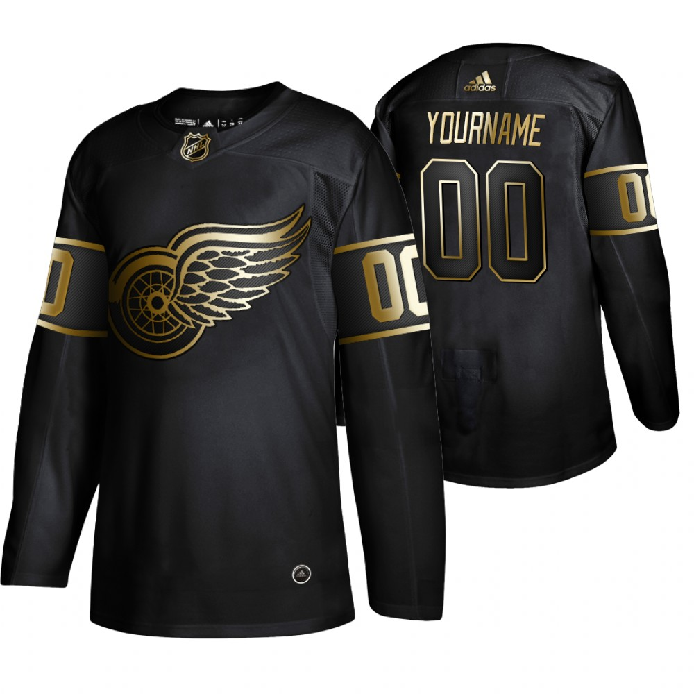 Red Wings Customized Black Gold Adidas Jersey