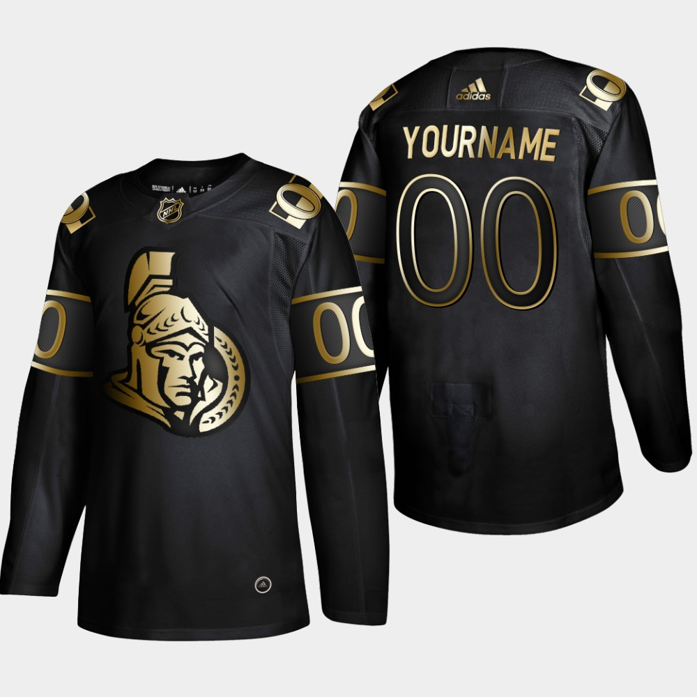 Senators Customized Black Gold Adidas Jersey