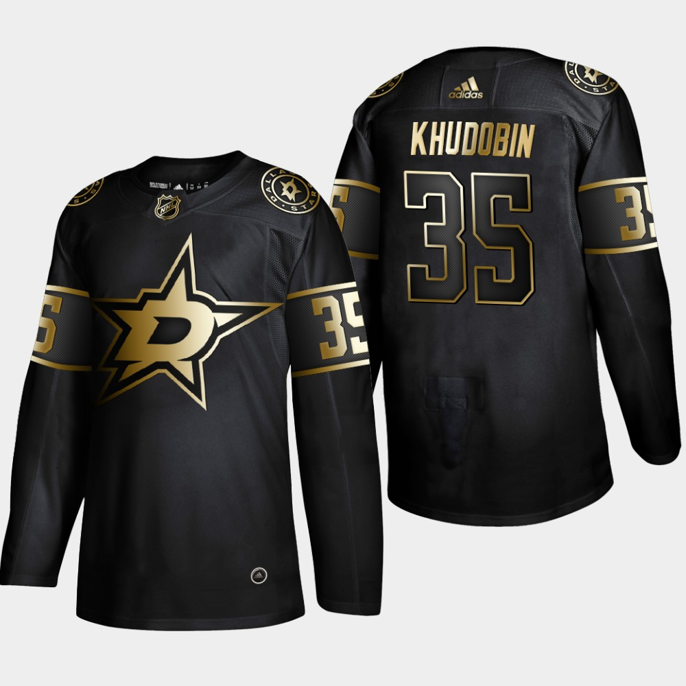 Stars 35 Anton Khudobin Black Gold Adidas Jersey