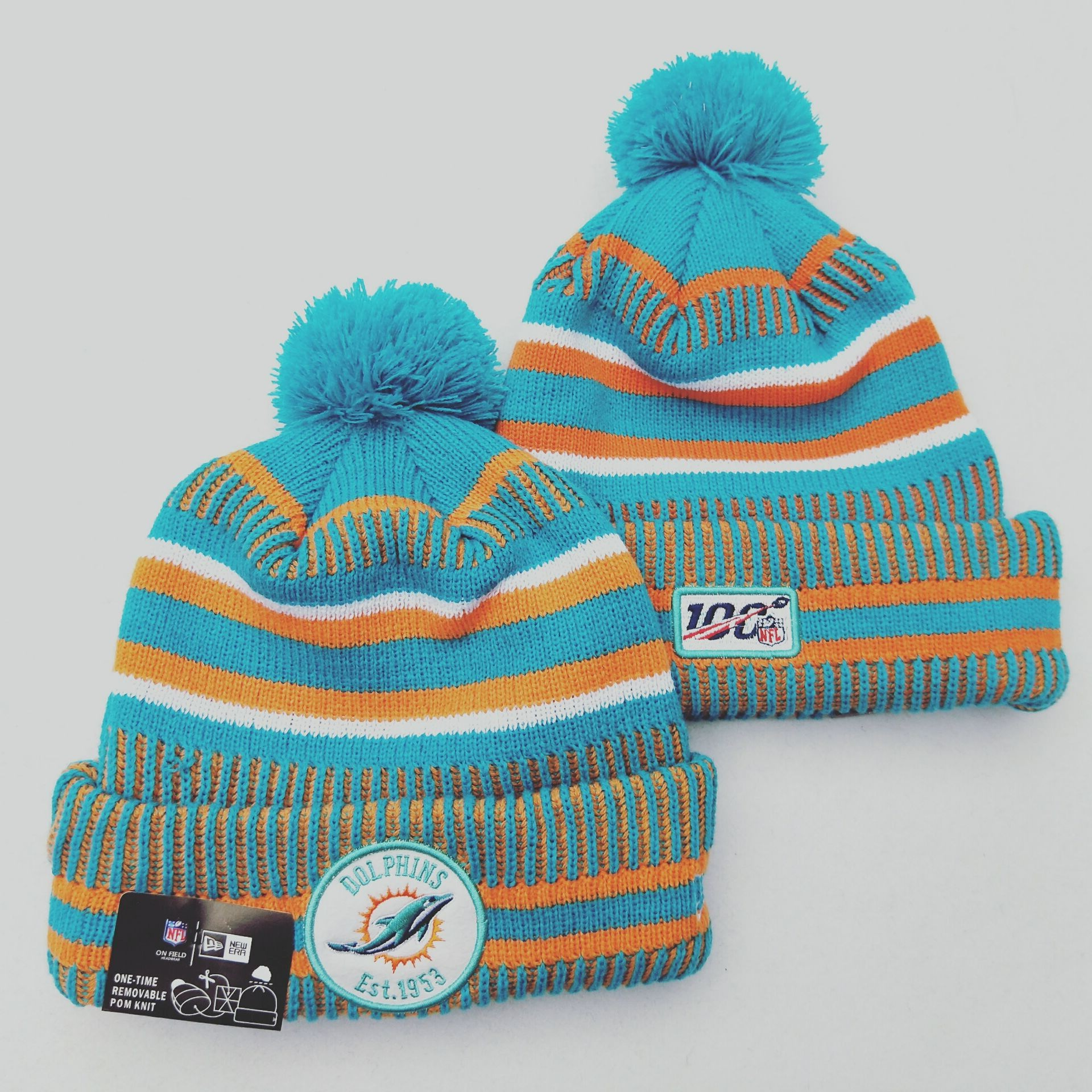 Dolphins Team Logo Aqua 100th Season Pom Knit Hat YD