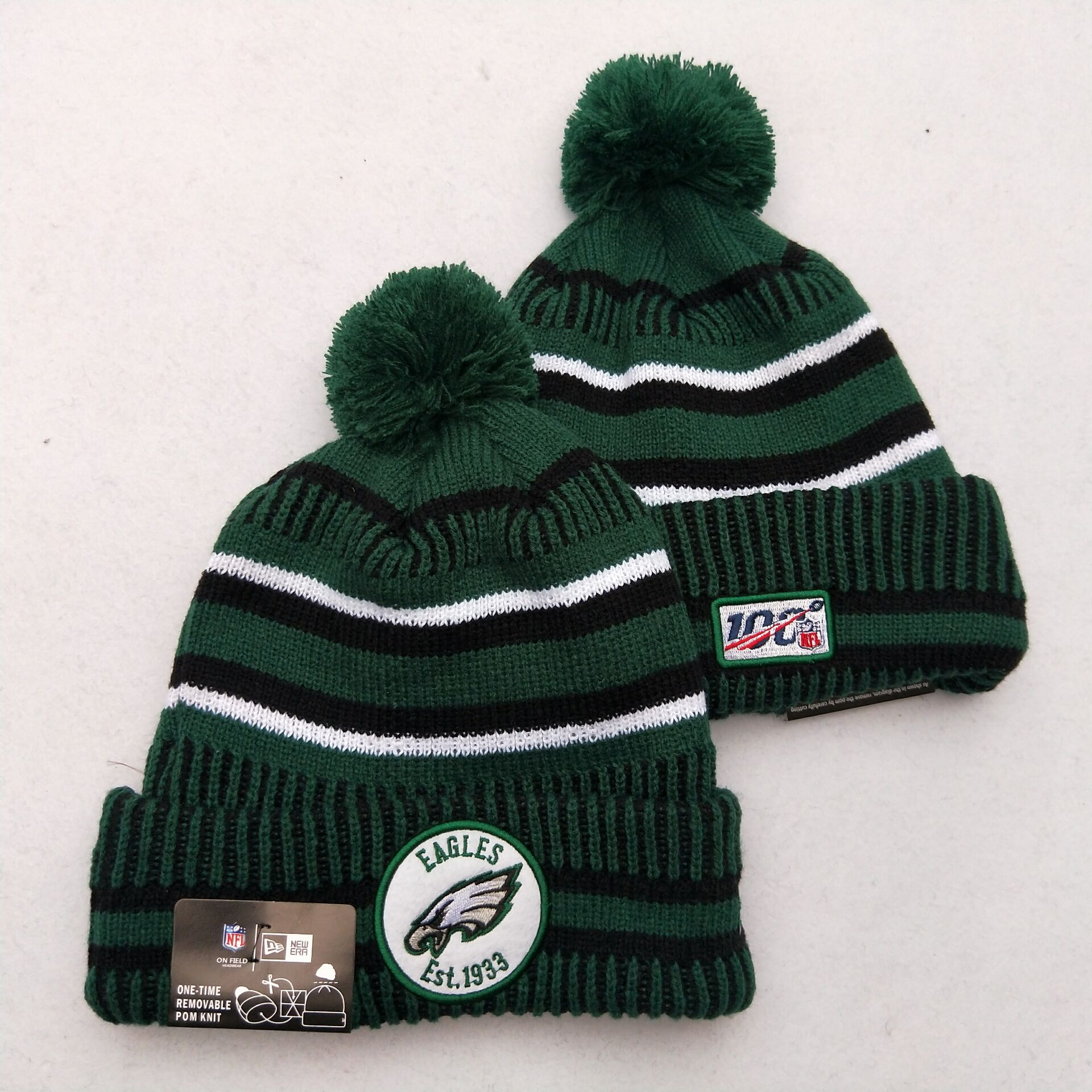 Eagles Team Logo Green 100th Season Pom Knit Hat YD
