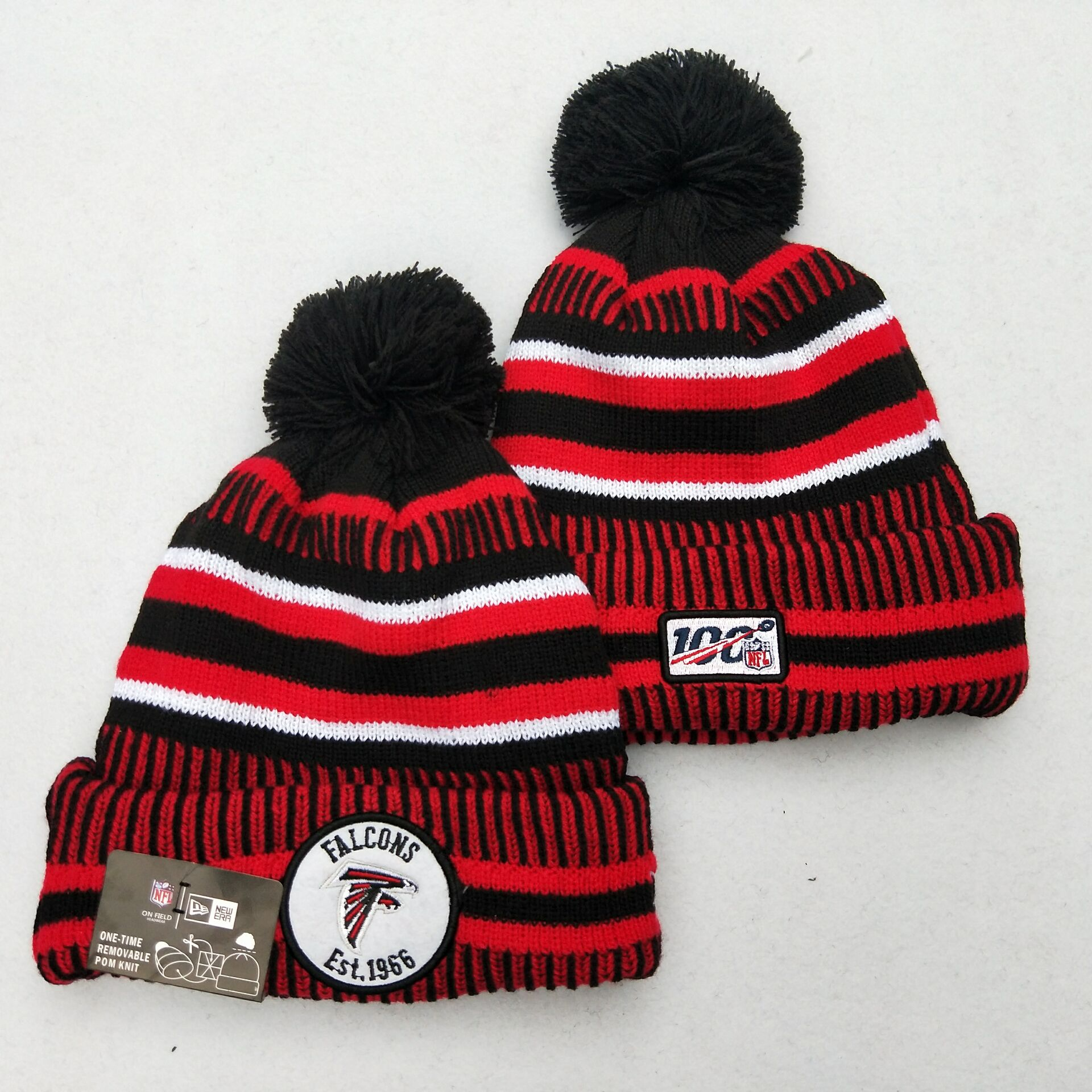 Falcons Team Logo Red 100th Season Pom Knit Hat YD