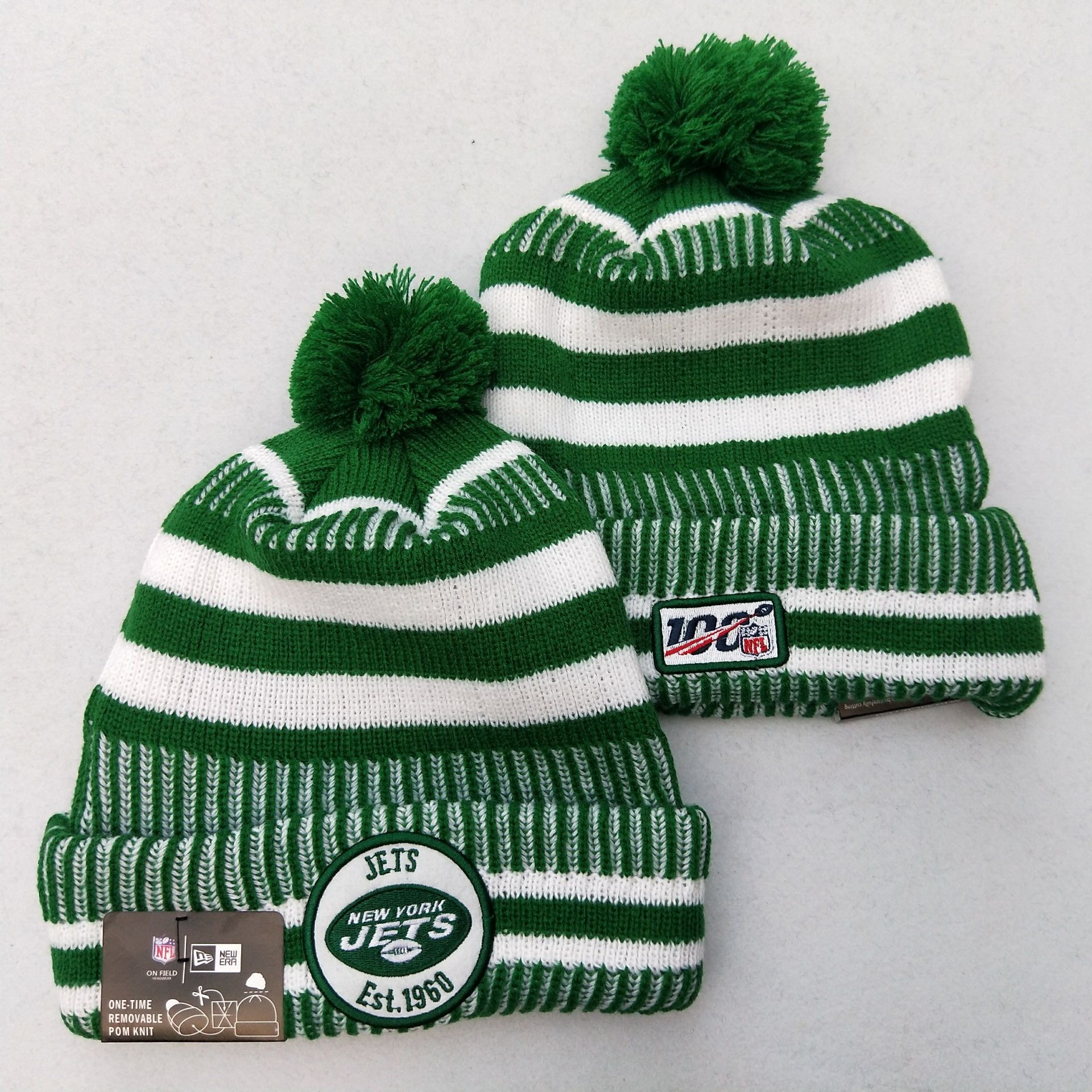Jets Team Logo Green 100th Season Pom Knit Hat YD