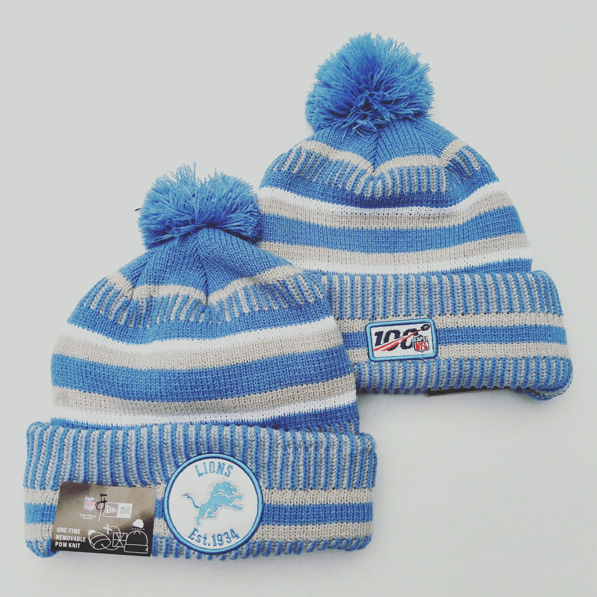 Lions Team Logo Light Blue 100th Season Pom Knit Hat YD