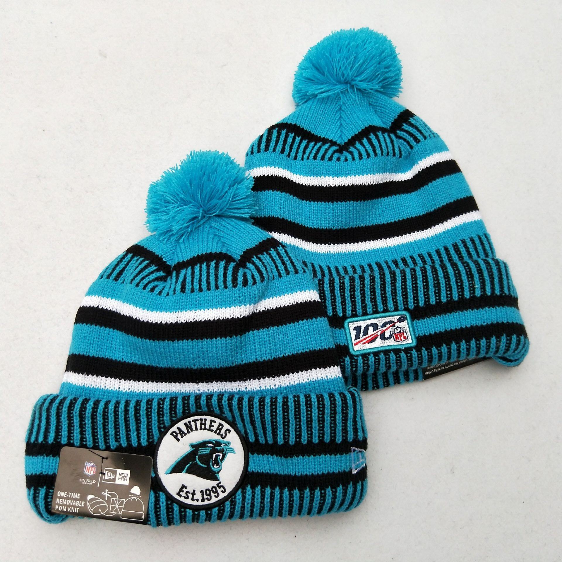 Panthers Team Logo Blue 100th Season Pom Knit Hat YD