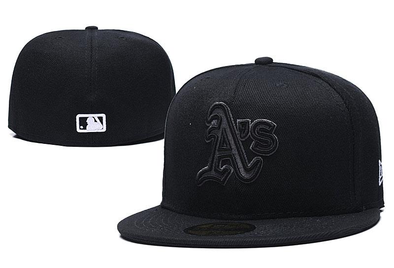 Athletics Team Logo Black Fitted Hat LX