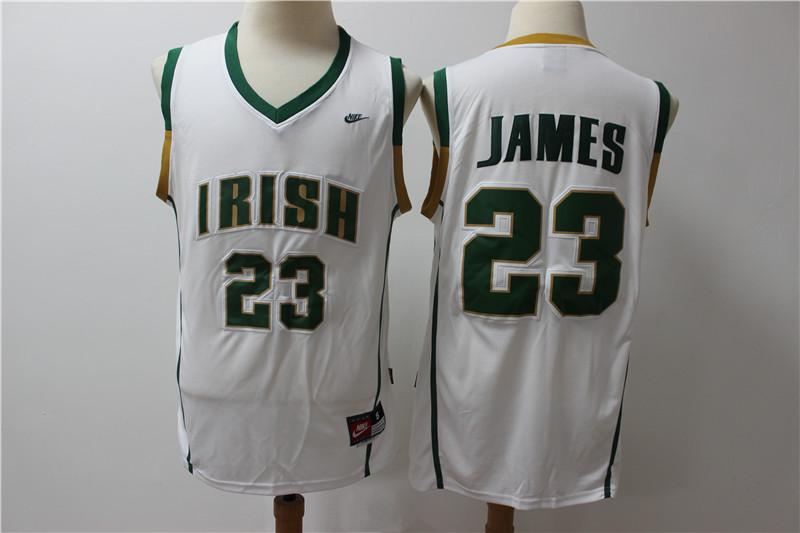 Irish High School 23 LeBron James White Basketball Jersey