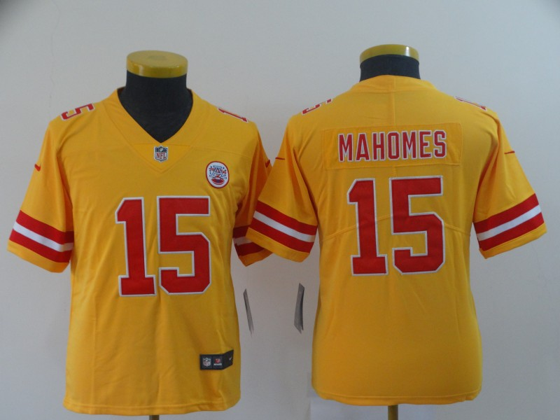 Nike Chiefs 15 Patrick Mahomes Gold Youth Inverted Legend Limited Jersey