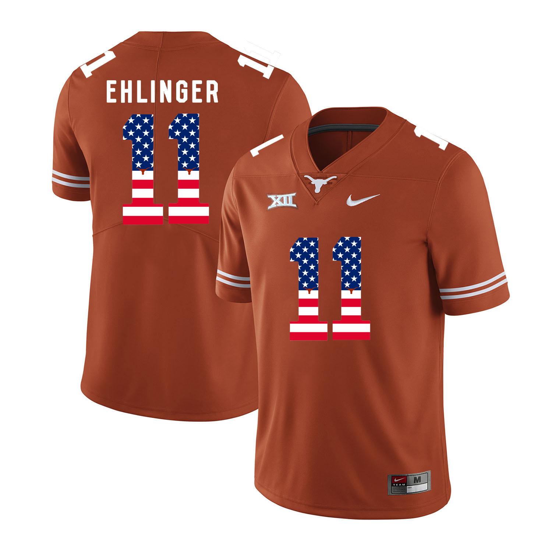 Texas Longhorns 11 Sam Ehlinger Orange USA Flag Nike College Football Jersey
