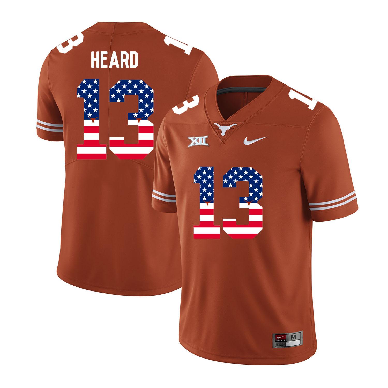 Texas Longhorns 13 Jerrod Heard Orange USA Flag Nike College Football Jersey