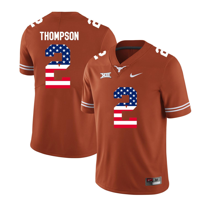 Texas Longhorns 2 Mykkele Thompson Orange USA Flag Nike College Football Jersey