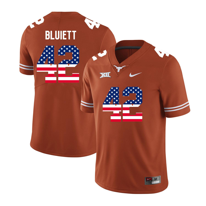 Texas Longhorns 42 Caleb Bluiett Orange USA Flag Nike College Football Jersey