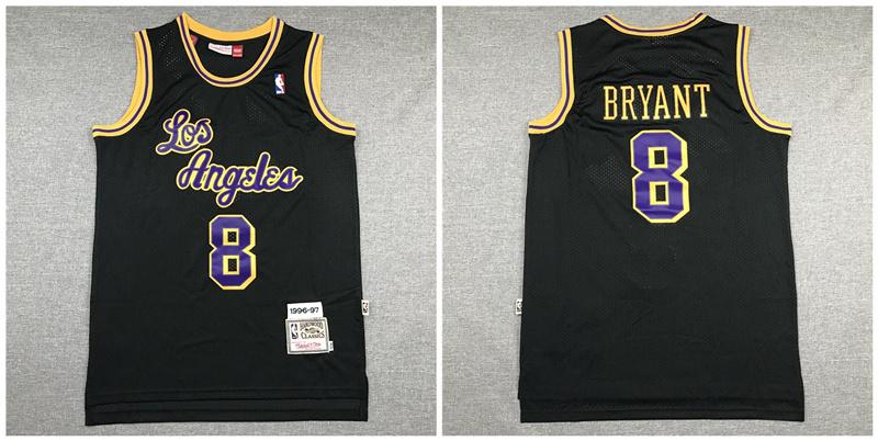 Lakers 8 Kobe Bryant Black 1996-97 Hardwood Classics Swingman Jersey