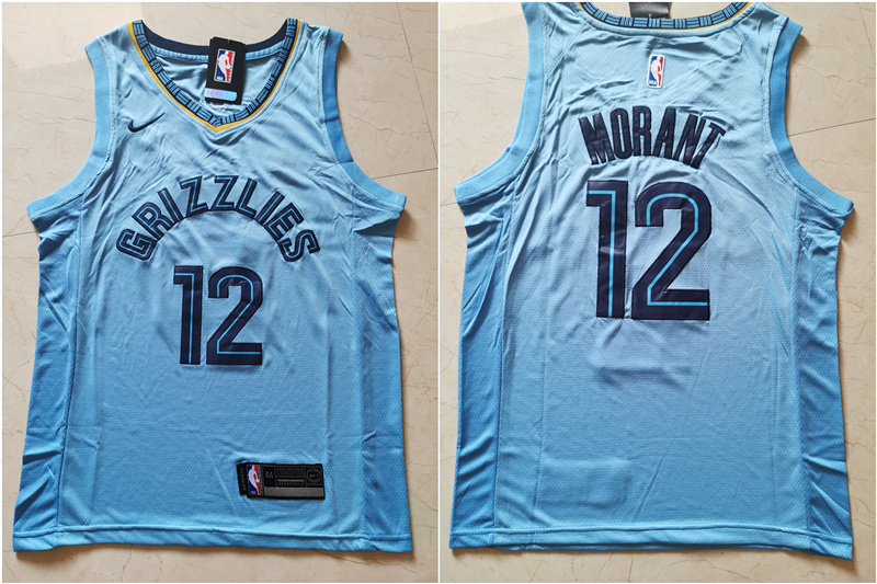 Grizzlies 12 Ja Morant Light Blue Nike Swingman Jersey