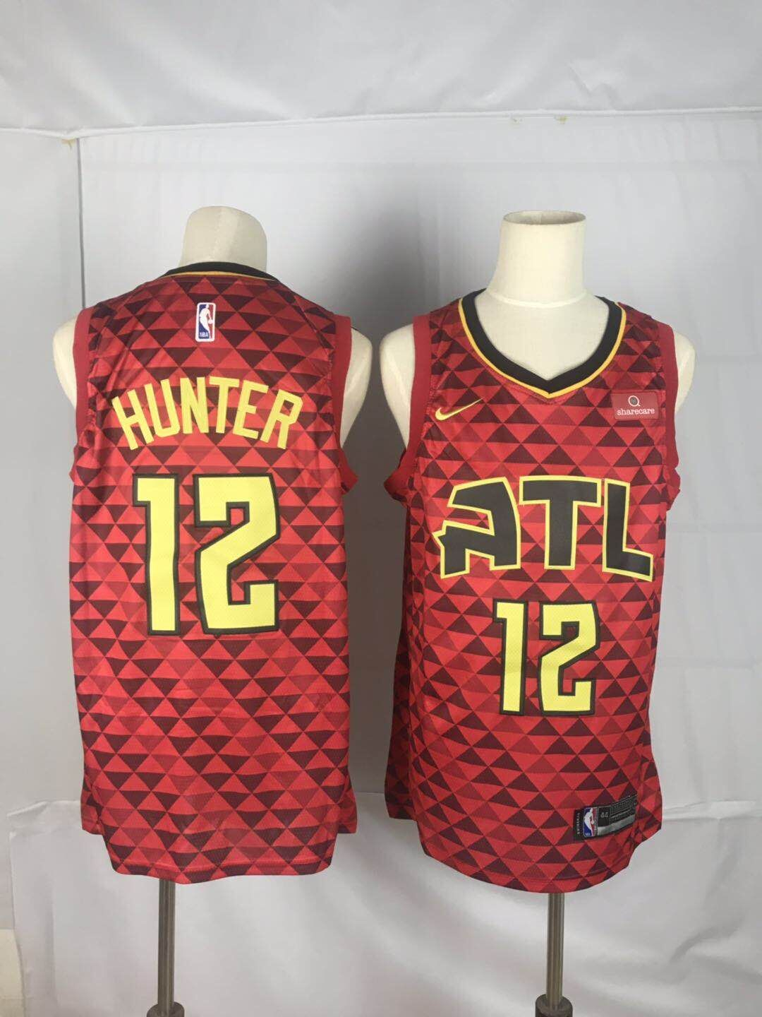 Hawks 12 De'Andre Hunter Red Nike Swingman Jersey
