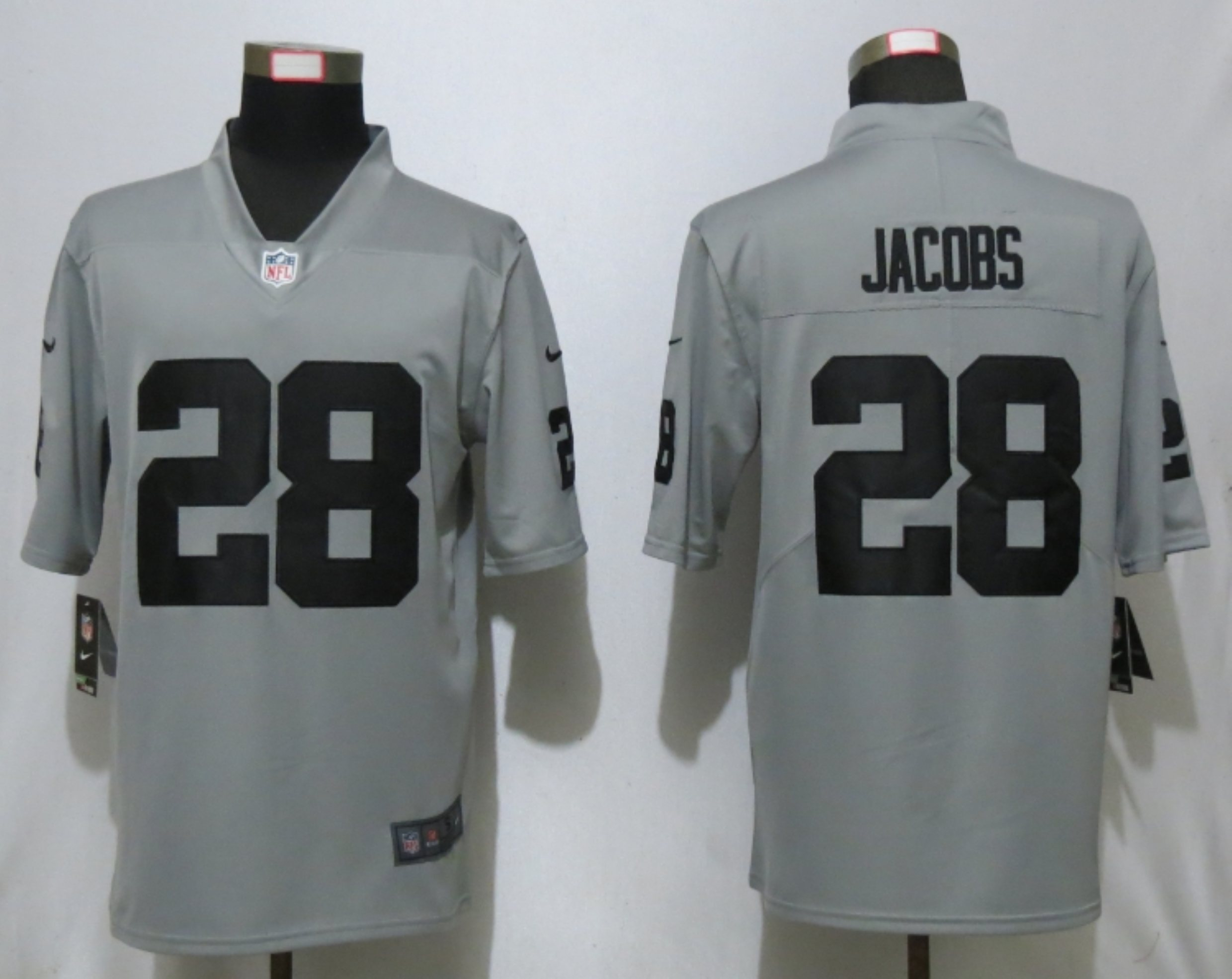Nike Raiders 28 Josh Jacobs Gray Inverted Legend Limited Jersey