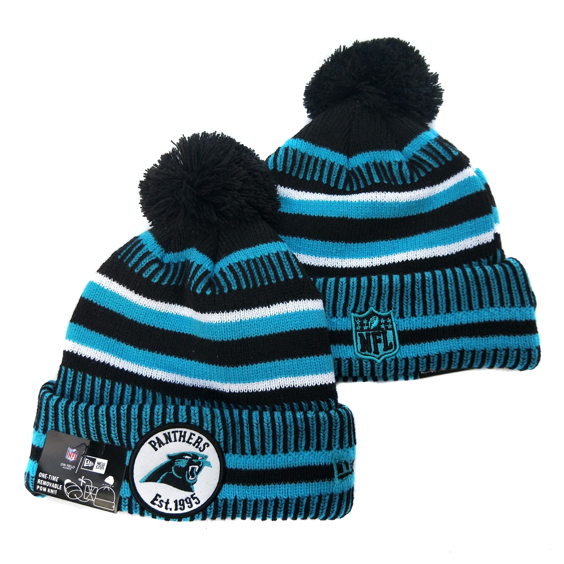 Panthers Team Logo Blue Pom Knit Hat YD