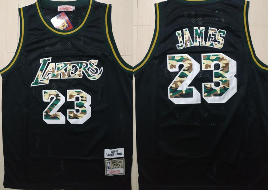 Lakers 23 Lebron James Black Camo 2018-19 Hardwood Classics Jersey