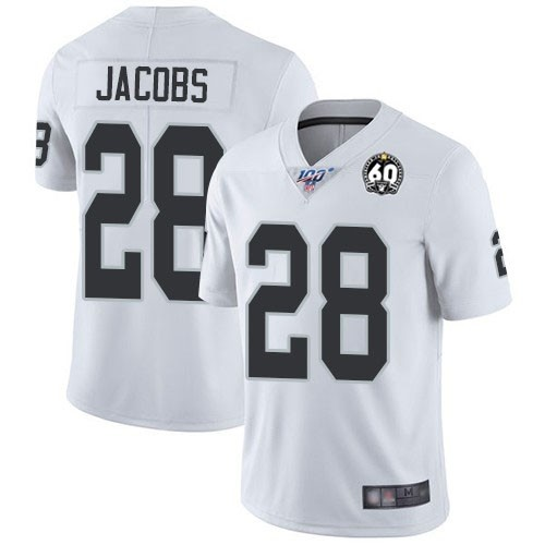 Nike Raiders 28 Josh Jacobs White 100th And 60th Anniversary Vapor Untouchable Limited Jersey