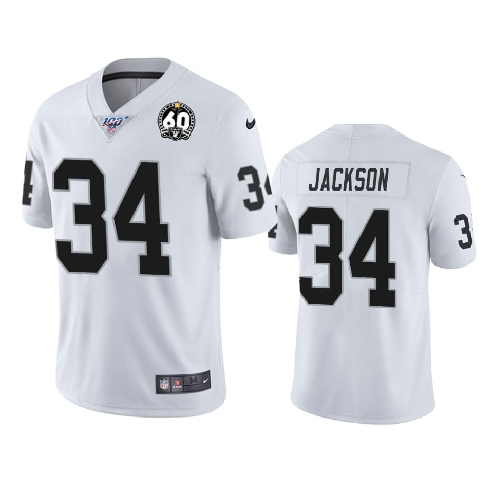 Nike Raiders 34 Bo Jackson White 100th And 60th Anniversary Vapor Untouchable Limited Jersey