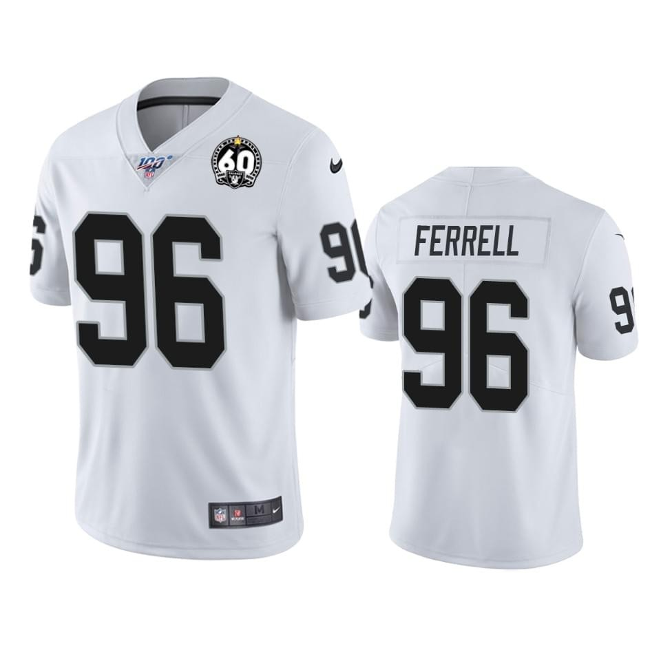 Nike Raiders 96 Clelin Ferrell White 100th And 60th Anniversary Vapor Untouchable Limited Jersey