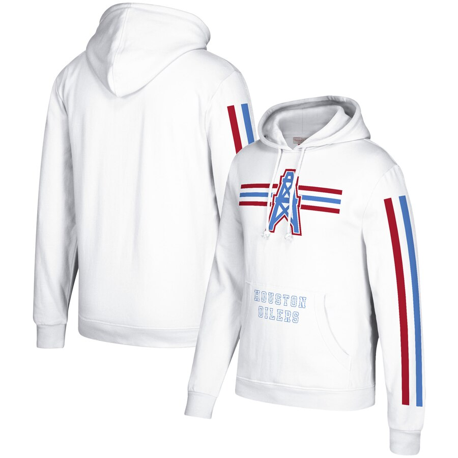 Houston Oilers Mitchell & Ness Three Stripe Pullover Hoodie White
