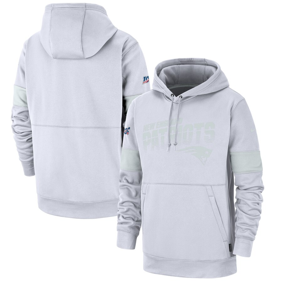 New England Patriots Nike NFL 100 2019 Sideline Platinum Therma Pullover Hoodie White