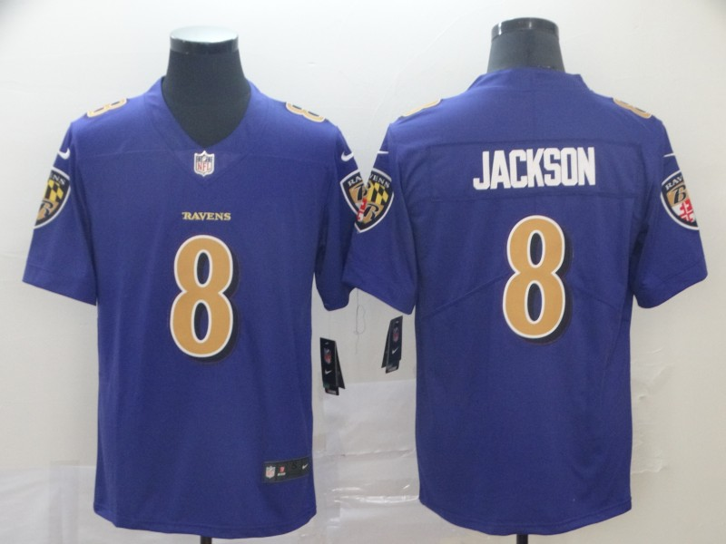 Nike Ravens 8 Lamar Jackson Purple Color Rush Limited Jersey