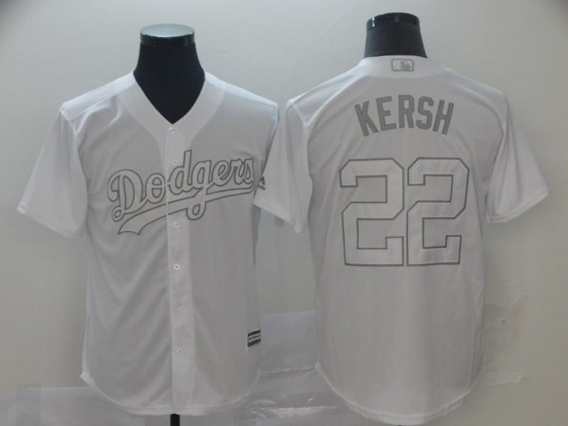 "Dodgers 22 Clayton Kershaw ""Kersh"" White 2019 Players' Weekend Player Jersey"