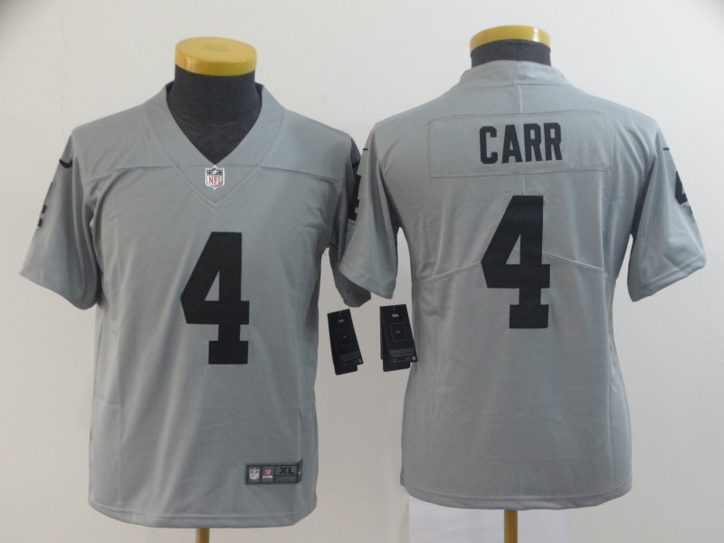 Nike Raiders 4 Derek Carr Gray Youth Inverted Legend Limited Jersey