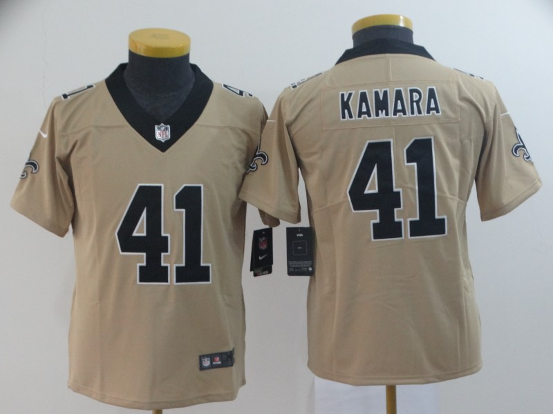 Nike Saints 41 Alvin Kamara Cream Youth Inverted Legend Limited Jersey